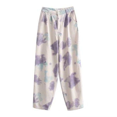 Tie-dye Print High Waist Casual Pants Nihaostyles Wholesale Clothing NSAM82865