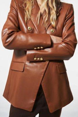 Autumn Imitation Leather Slim Blazer Nihaostyles Wholesale Clothing NSAM82871