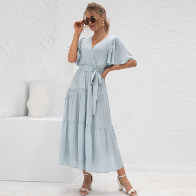 Solid Color V-neck Stitching Long Dress Nihaostyles Clothing Wholesale NSGNX82875