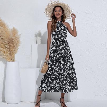 Halter Digital Print Dress Nihaostyles Clothing Wholesale NSGNX82876