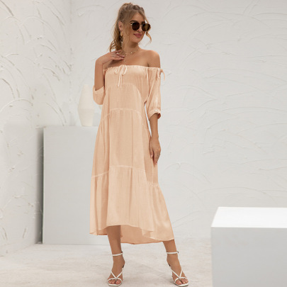 Solid Color Off-shoulder Long Dress Nihaostyles Clothing Wholesale NSGNX82878