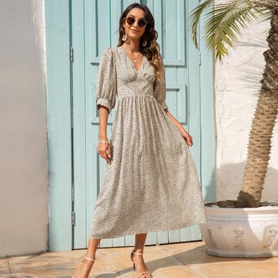 V-neck Printed Mid Sleeve Dress Nihaostyles Clothing Wholesale NSGNX82879
