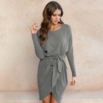 Round Neck Irregular Belt Dress Nihaostyles Clothing Wholesale NSGNX82881