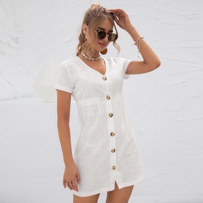 V-neck Single-Breasted Dress Nihaostyles Clothing Wholesale NSGNX82882