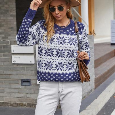 Autumn And Winter Snowflake Jacquard Sweater Nihaostyles Wholesale Christmas Costumes NSMMY82664