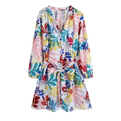 V Neck Print Lace-up Poplin Dress Nihaostyles Wholesale Clothing NSAM82591