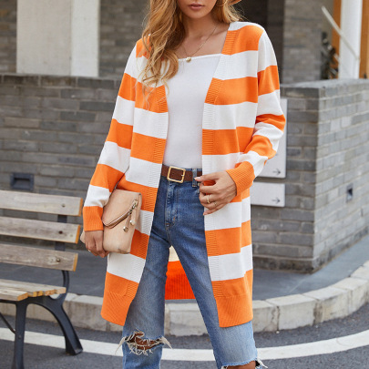 Hit Color Striped Knitted Sweaters Cardigan Nihaostyles Wholesale Clothing NSMMY82823