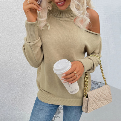 High Round Lapel Leaking Shoulder Knitted Sweater Nihaostyles Wholesale Clothing NSMMY82828