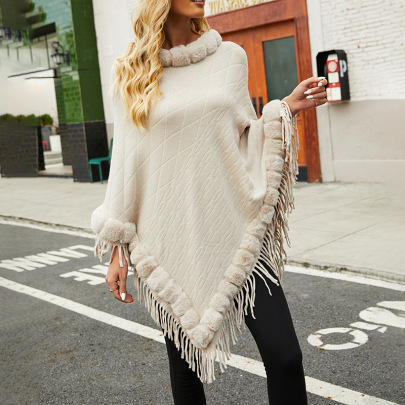 Autumn And Winter Furry Collar Solid Color Knitted Cloak Shawl Nihaostyles Wholesale Clothing NSMMY82830