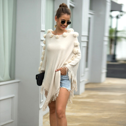 Autumn And Winter Round Neck Solid Color Knitted Tassel Cloak Shawl Nihaostyles Wholesale Clothing NSMMY82831