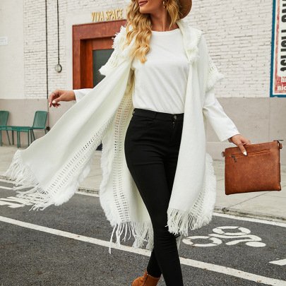 Autumn And Winter Hooded Knitted  Fringed Cloak Shawl Cardigan Nihaostyles Wholesale Clothing NSMMY82832