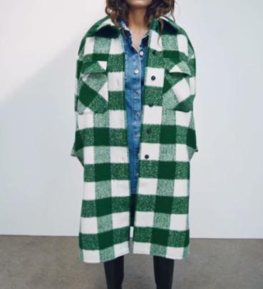 Plaid Print Loose Overcoat Nihaostyles Wholesale Clothing NSAM82563