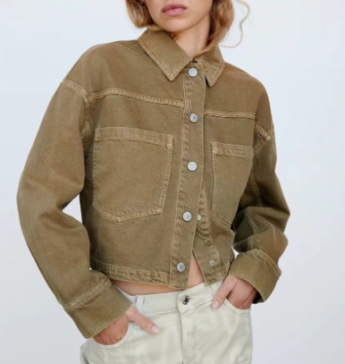 Autumn Lapel Short Denim Jacket Nihaostyles Wholesale Clothing NSAM82858