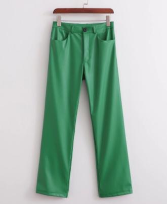 Autumn High Waist Slim Green Straight Leg Pants Nihaostyles Wholesale Clothing NSAM82317