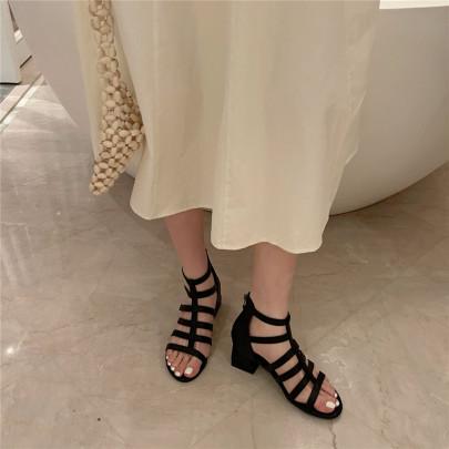 Open-toed Rear Zipper Thick Heel Sandals NSHU37045