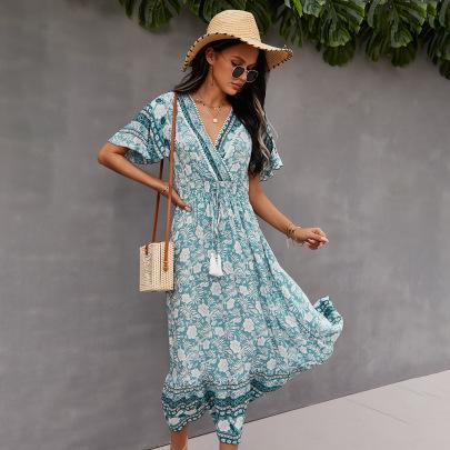 Fashion V-neck Strapped Bohemian Dress NSKA37618