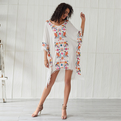 Bohemian Ethnic Embroidery Beach Dress  NSSE35230