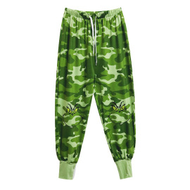 Casual Loose Mid-waist Green Sports Pants NSXS35298