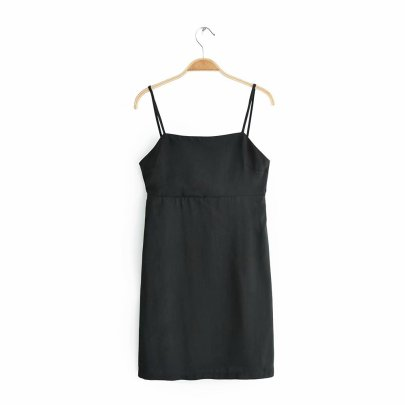 Sexy Black Leaky Back Bow Suspender Dress NSAM42189