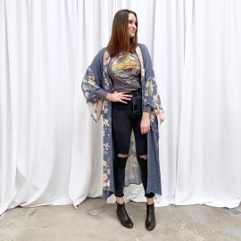 Fashion Loose Strapped Printing Robe  NSAM42383