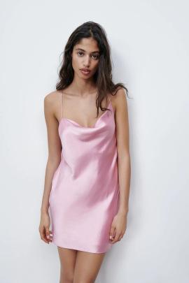Sexy Silk Satin Texture Suspender Dress  NSAM43022