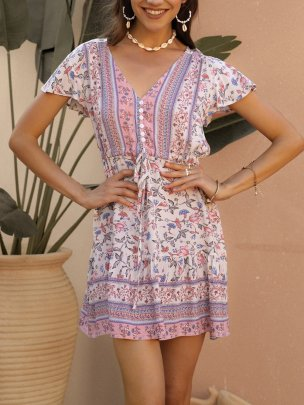 Bohemian Cotton Printed Short-sleeved Dress NSSE43109