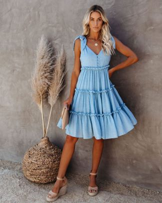 Bohemian Pure Color Strapped Dress NSSE43113