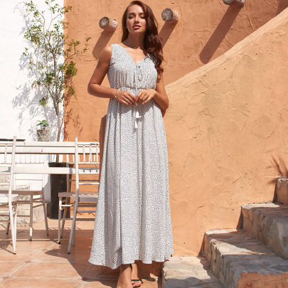 Bohemia Polka Dot Print Long Dress  NSSE43117