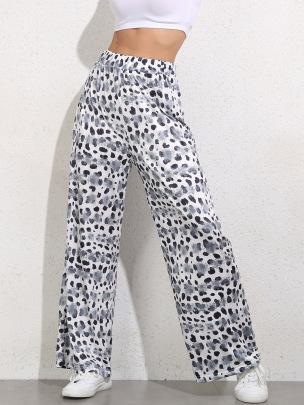 Plus Size Art Graffiti High-waist Straight Leg Pants NSGHY43804