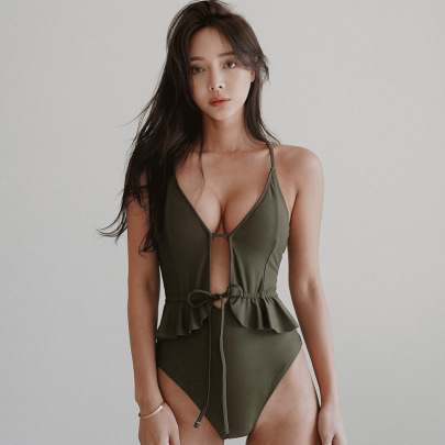 Solid Color Lace-up Hollow Sexy One-piece Swimsuit  NSHL44014