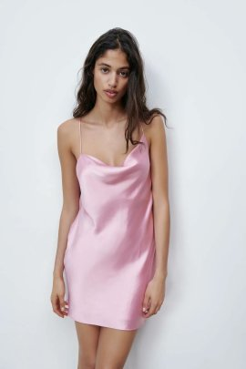 Fashion Sling Silk Solid Color Dress  NSAM44201