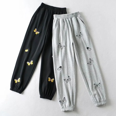 Elastic Butterfly Embroidered Casual Sports Pants NSHS44293