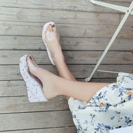 Bling Decor Thick High Heel Slide Slippers NSHU44308