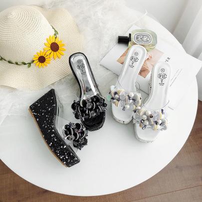 Crystal Decor Thick High Heel Slide Sandals NSHU44309