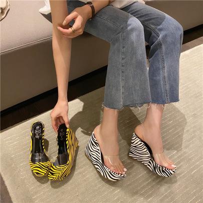 Zebra Print Thick High Heel Slide Slippers NSHU44310