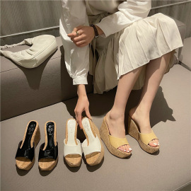 Fashion Thick High Heel Open Slide Sandals NSHU44311