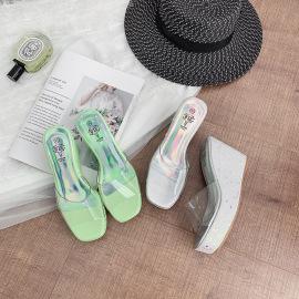 Summer Clear Thick High Heel Slide Slippers NSHU44312