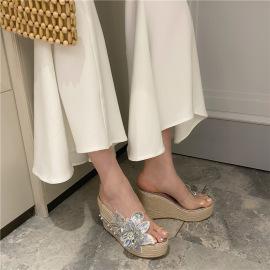 Blinged Froral Decor Thick High Heel Slide Slippers NSHU44314