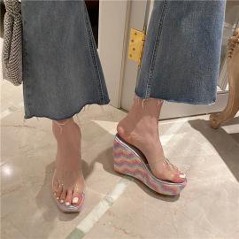 Fashion Bling Decor Thick High Heel Slide Slippers NSHU44315