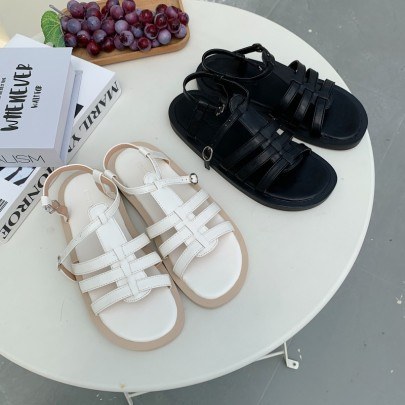 Fashion Open Toe Strap Flat Sandals NSHU44320