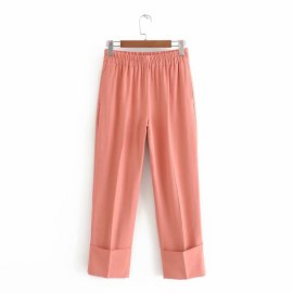 Solid Color Elastic Waist Casual Pants NSAM44575