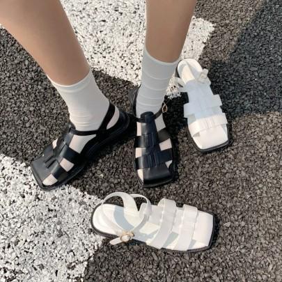 Buckle Hollow Slide Flat Sandals NSHU44701