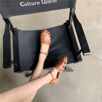 Retro Hollow Word Buckle Roman Sandals NSHU44991