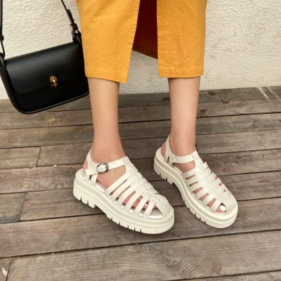 Solid Color Flat Sandals NSHU45003
