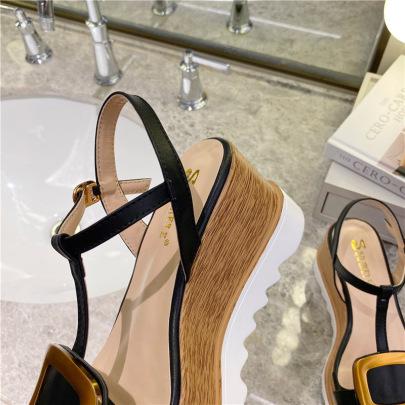 Square Buckle Open Toe Platform Sandals NSHU45068