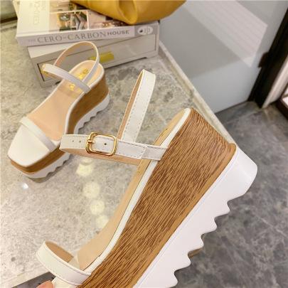 Square Toe Wedge Trifle Platform Sandals  NSHU45071