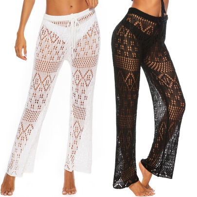 Solid Color Hollow Woven Beach Pants  NSOY45978