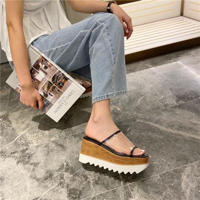 Clear Belted Wedge Slide Sandals NSHU46052