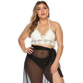 Plus Size Floral Trim Halter Knit Bikini Swimsuit NSOY46079