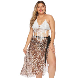 Plus Size Halter Knit Bikini Swimsuit NSOY46114